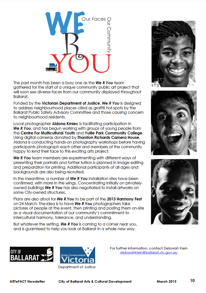 We R You on ARTefact March 2013
