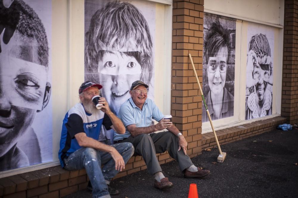 We R You paste up photo project Blockbuster Video life size portraits Ballarat