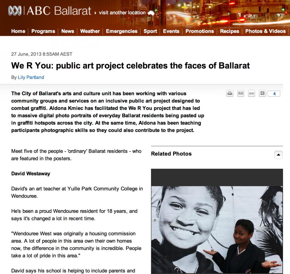 ballarat public art ABC Ballarat Interview and audio We R You 2013 public art project celebrates the faces of Ballarat.png