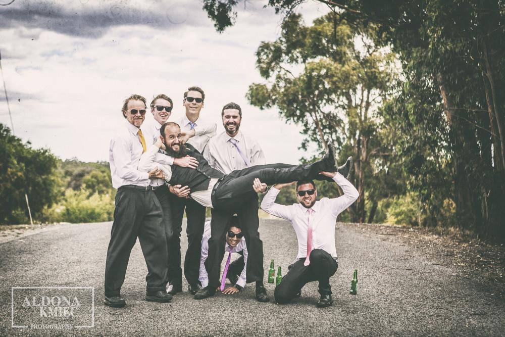 Ballarat Wedding photographer  Colourful wedding Bridal party shotsSneak peek wedding photos  Happy Groomsmen with a Groom wedding photography
