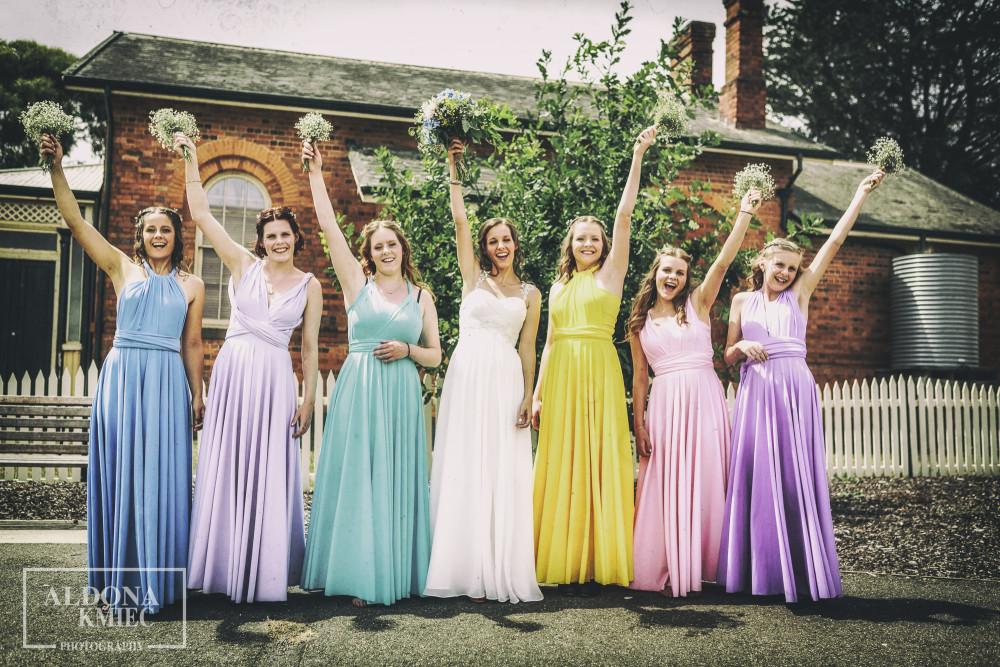 Ballarat Wedding photographer  Colourful wedding Bridal party Smythesdale shots