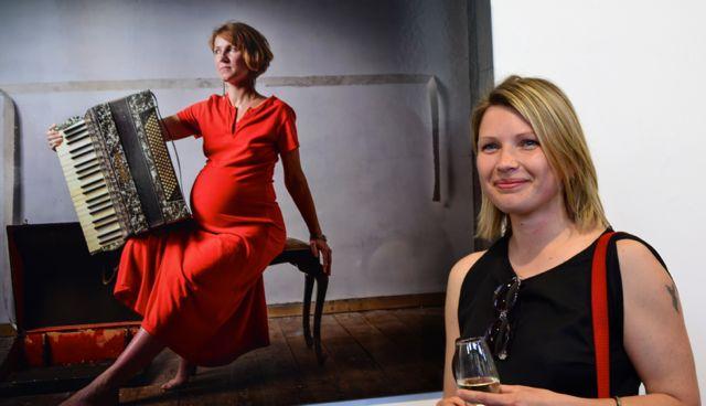 Aldona Kmiec with winning work featuring Polish friend Magda Kazmierczak