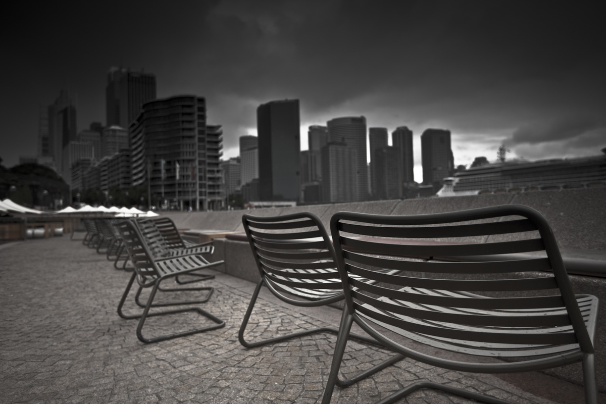 Photographs and Isolation Empty Chairs Sydney Australia